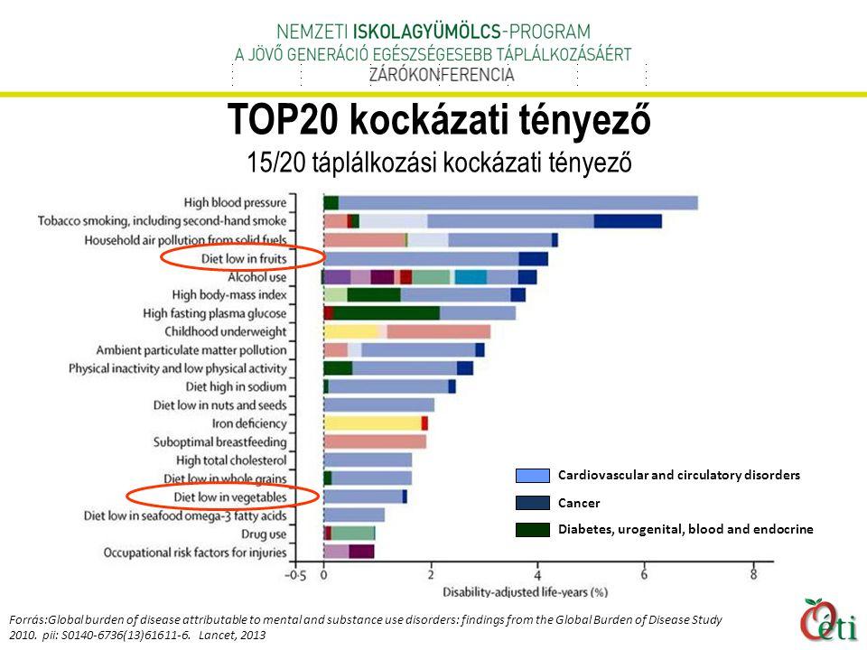 TOP20 kockázati tényező 15/20 táplálkozási kockázati tényező