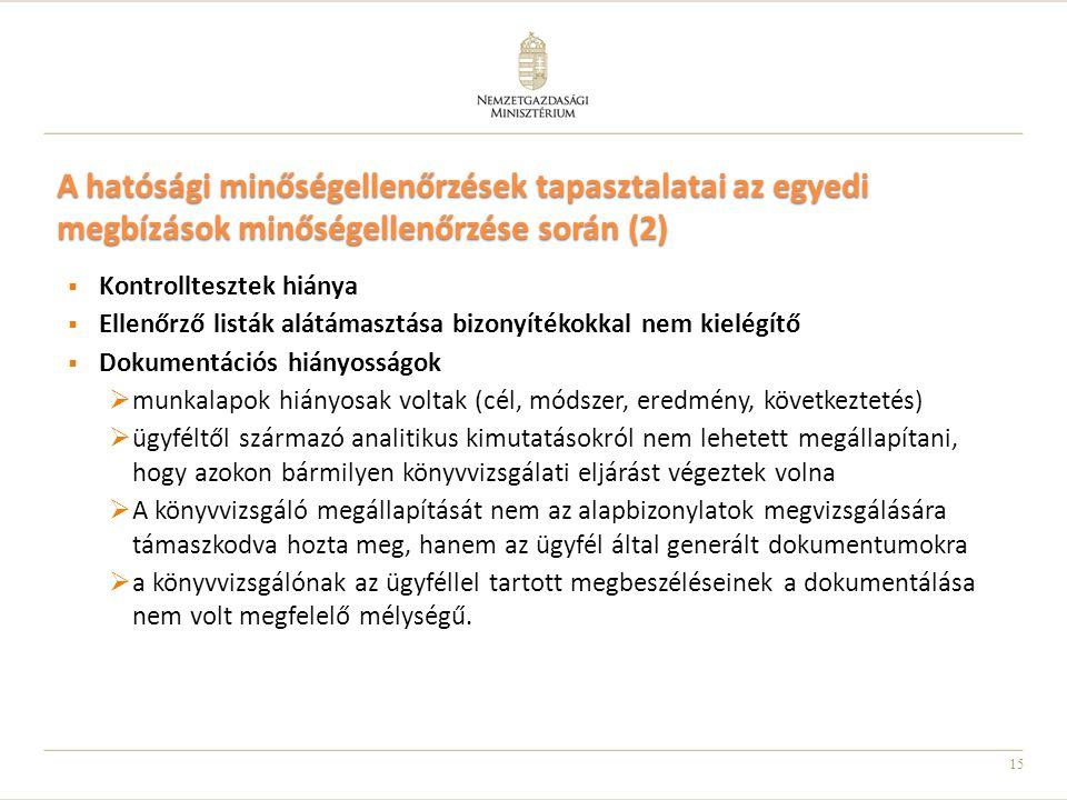 A hatósági minőségellenőrzések tapasztalatai az egyedi megbízások minőségellenőrzése során (2)