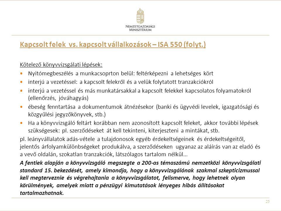 Kapcsolt felek vs. kapcsolt vállalkozások – ISA 550 (folyt.)