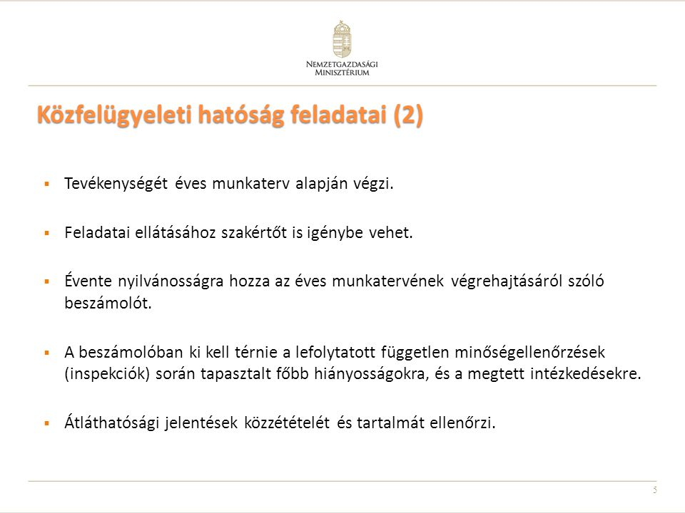 Közfelügyeleti hatóság feladatai (2)
