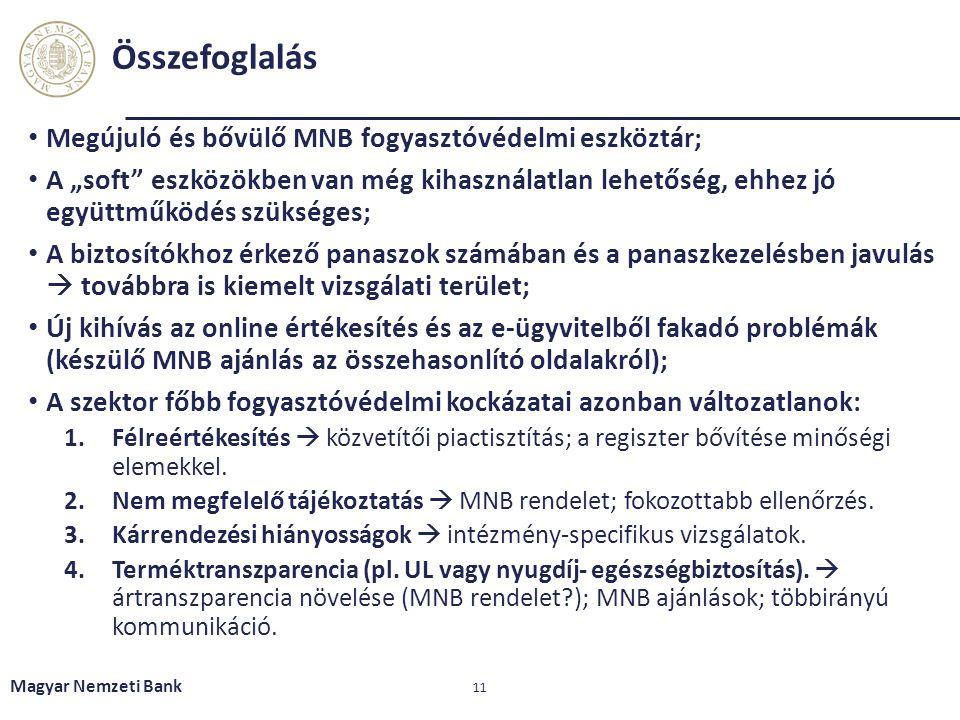 Összefoglalás Megújuló és bővülő MNB fogyasztóvédelmi eszköztár;