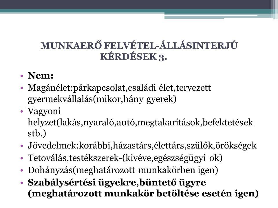 MUNKAERŐ FELVÉTEL-ÁLLÁSINTERJÚ KÉRDÉSEK 3.