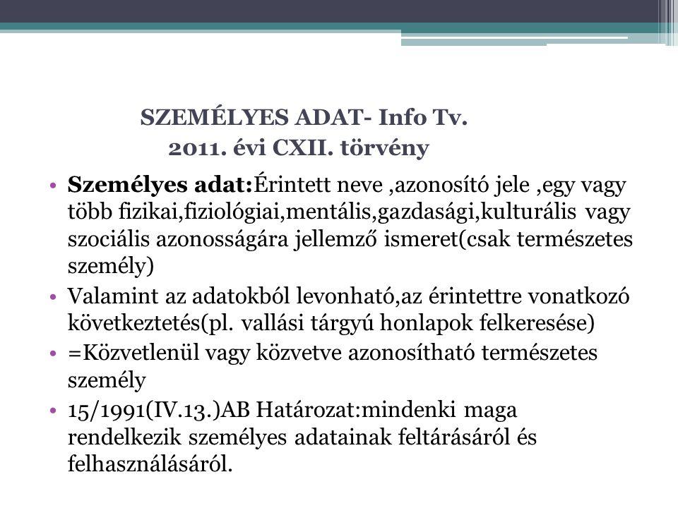 SZEMÉLYES ADAT- Info Tv. 2011. évi CXII. törvény