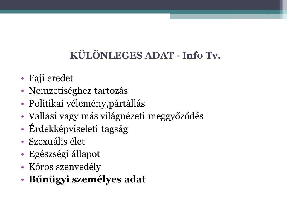 KÜLÖNLEGES ADAT - Info Tv.