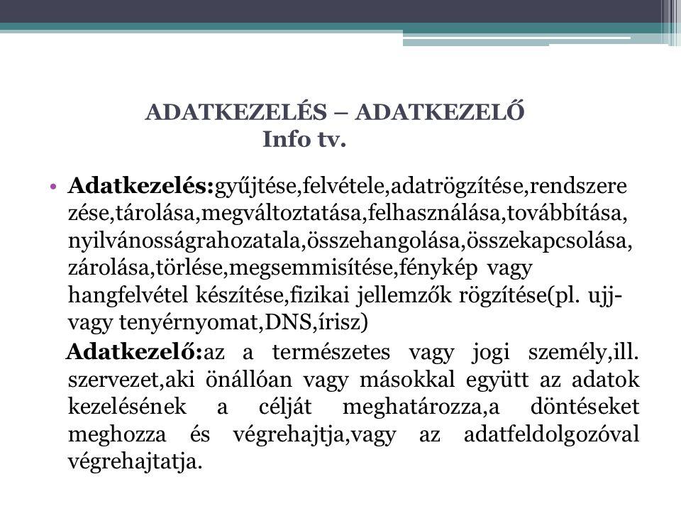ADATKEZELÉS – ADATKEZELŐ Info tv.