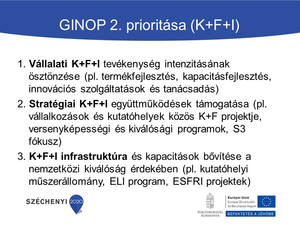 GINOP 2. prioritása (K+F+I)