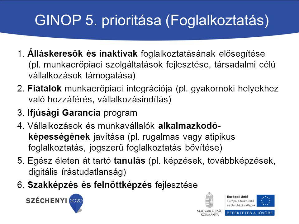 GINOP 5. prioritása (Foglalkoztatás)
