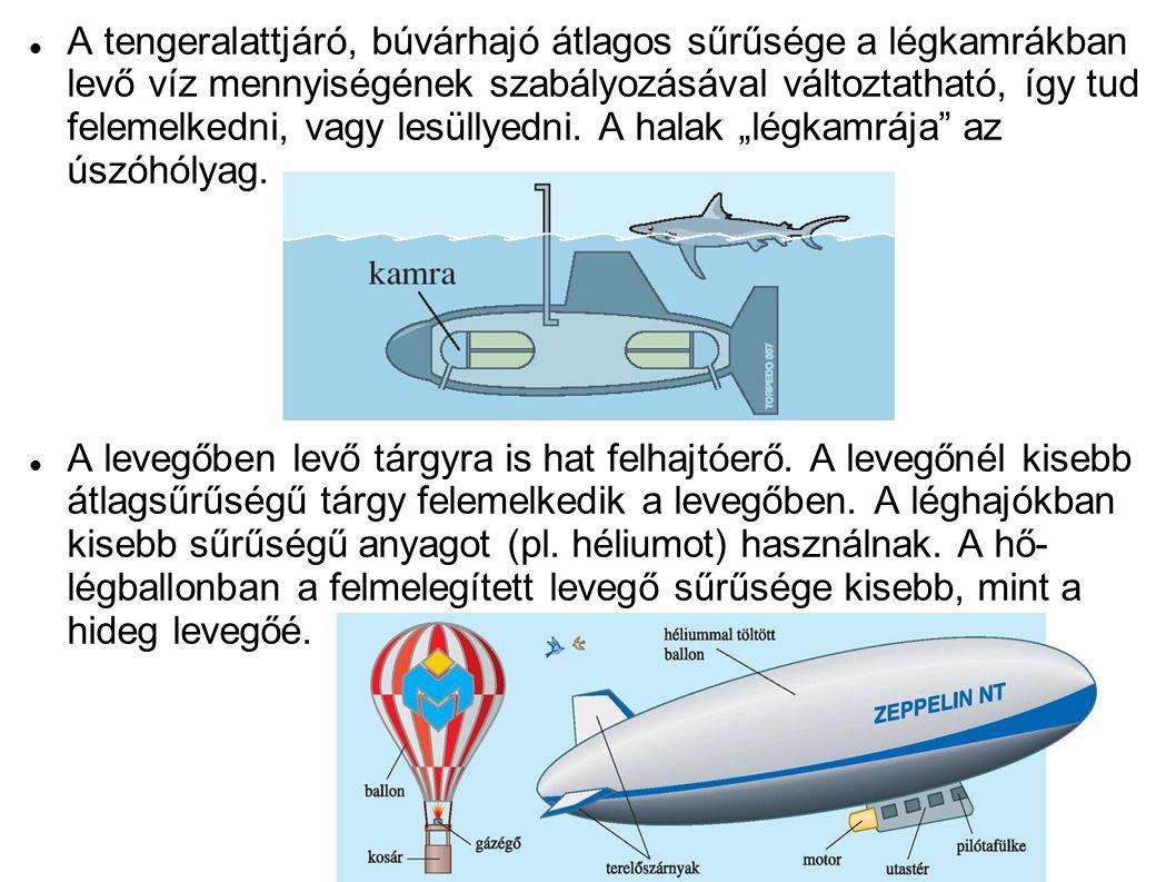 """A tengeralattjáró, búvárhajó átlagos sűrűsége a légkamrákban levő víz mennyiségének szabályozásával változtatható, így tud felemelkedni, vagy lesüllyedni. A halak """"légkamrája az úszóhólyag."""