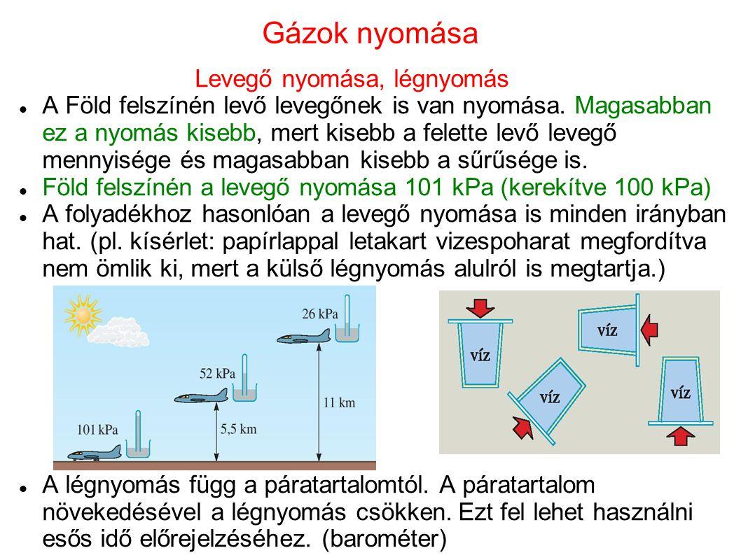 Gázok nyomása Levegő nyomása, légnyomás