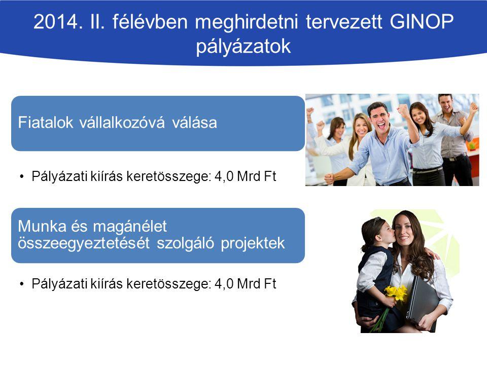2014. II. félévben meghirdetni tervezett GINOP pályázatok