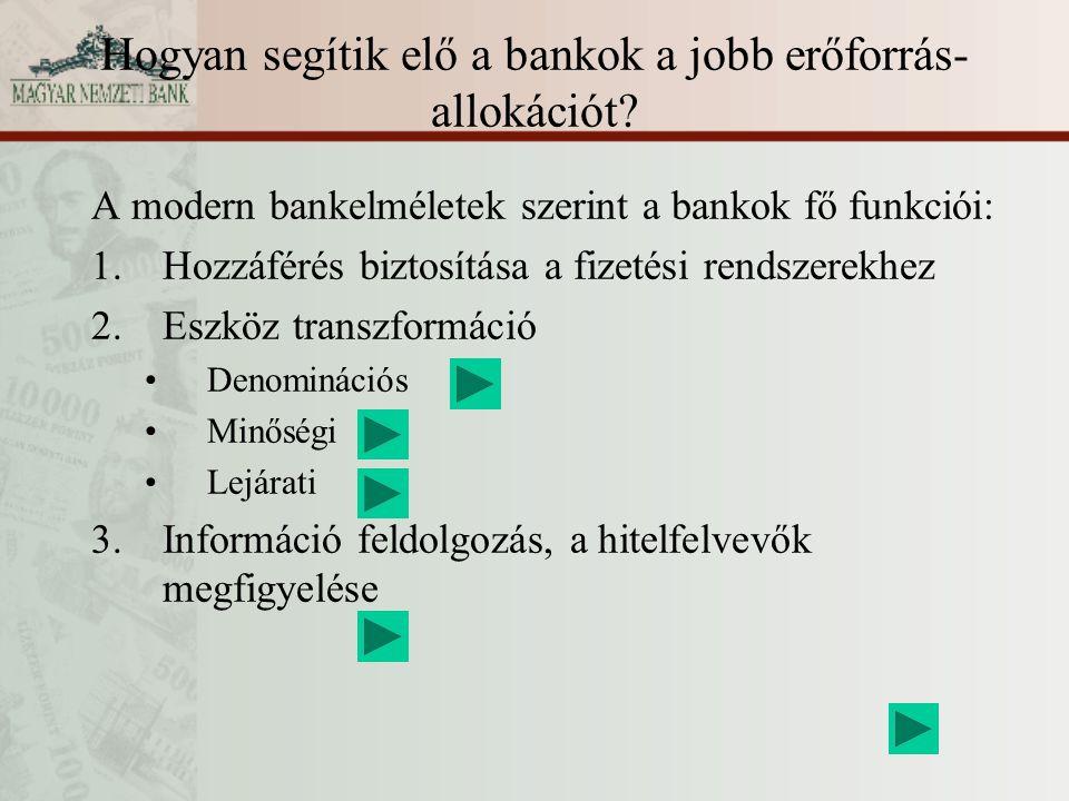 Hogyan segítik elő a bankok a jobb erőforrás-allokációt