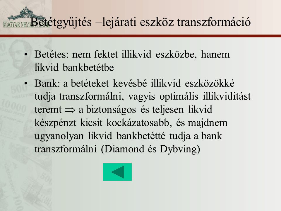 Betétgyűjtés –lejárati eszköz transzformáció