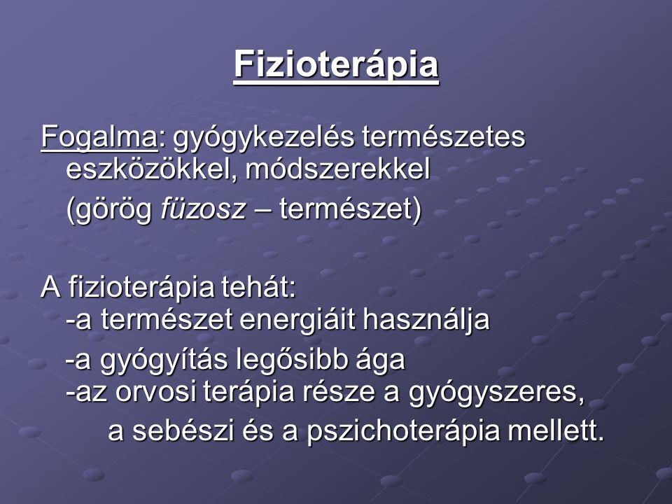 Fizioterápia Fogalma: gyógykezelés természetes eszközökkel, módszerekkel. (görög füzosz – természet)