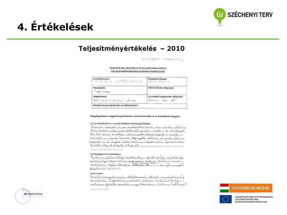 4. Értékelések Teljesítményértékelés – 2010