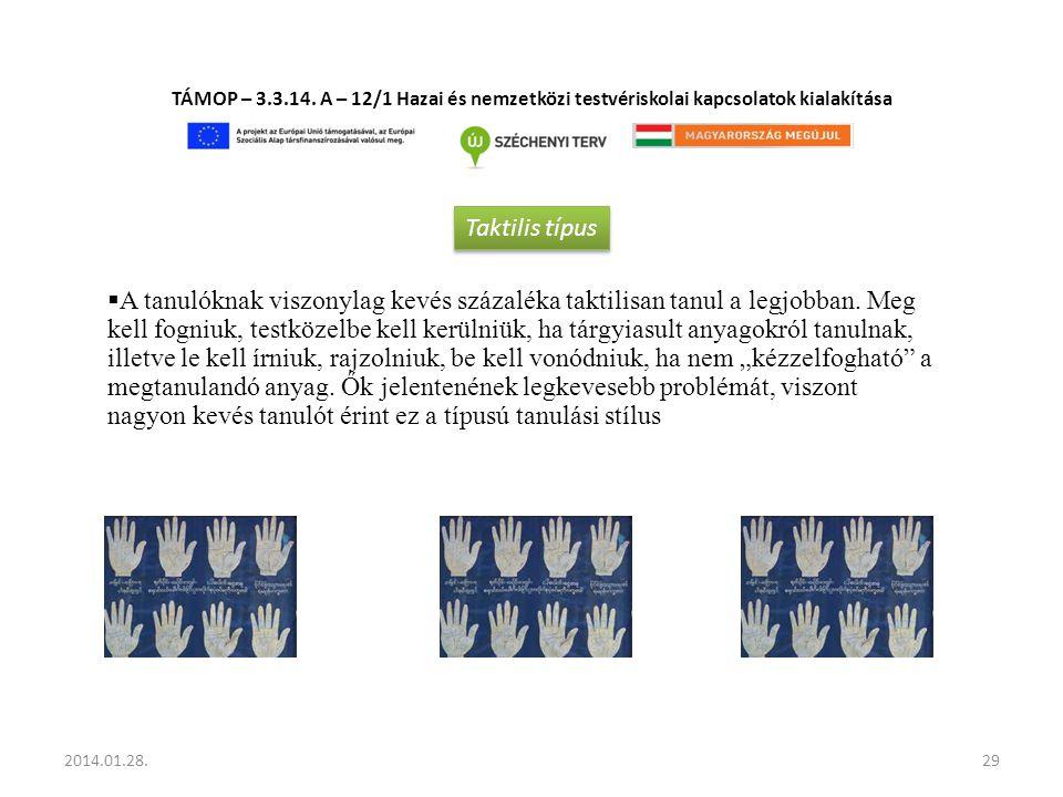 TÁMOP – 3.3.14. A – 12/1 Hazai és nemzetközi testvériskolai kapcsolatok kialakítása