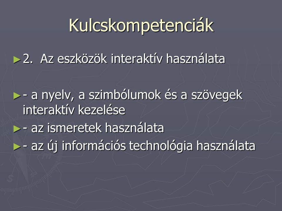 Kulcskompetenciák 2. Az eszközök interaktív használata