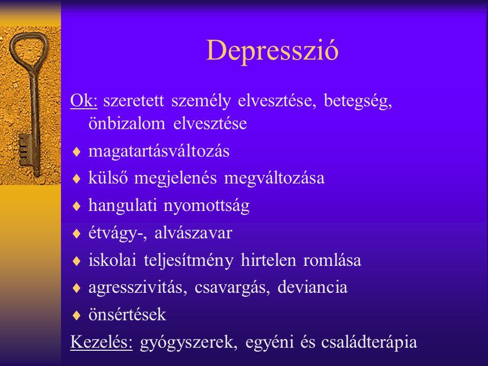 Depresszió Ok: szeretett személy elvesztése, betegség, önbizalom elvesztése. magatartásváltozás. külső megjelenés megváltozása.