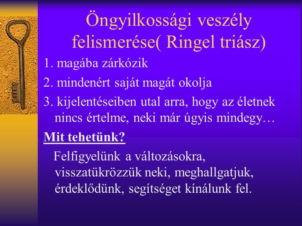 Öngyilkossági veszély felismerése( Ringel triász)