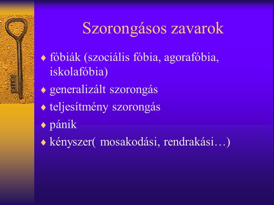 Szorongásos zavarok fóbiák (szociális fóbia, agorafóbia, iskolafóbia)