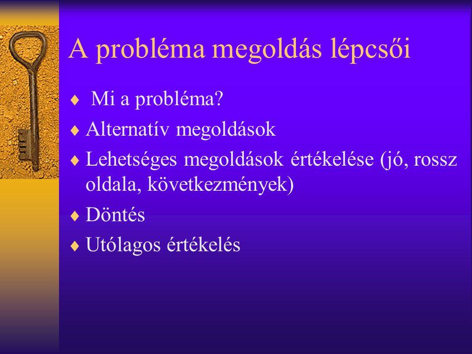A probléma megoldás lépcsői