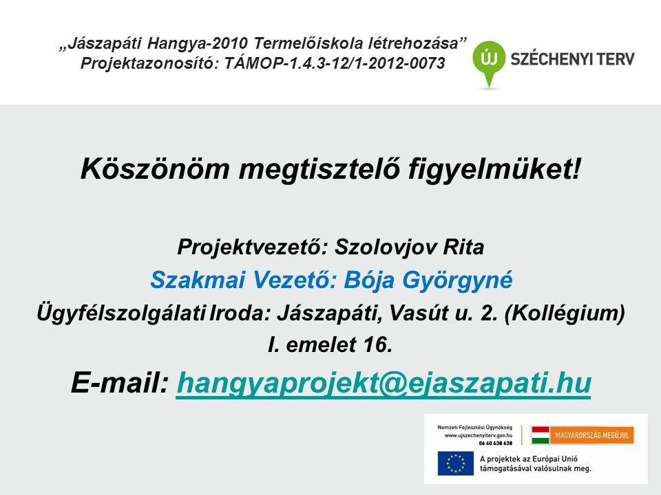 Köszönöm megtisztelő figyelmüket! E-mail: hangyaprojekt@ejaszapati.hu