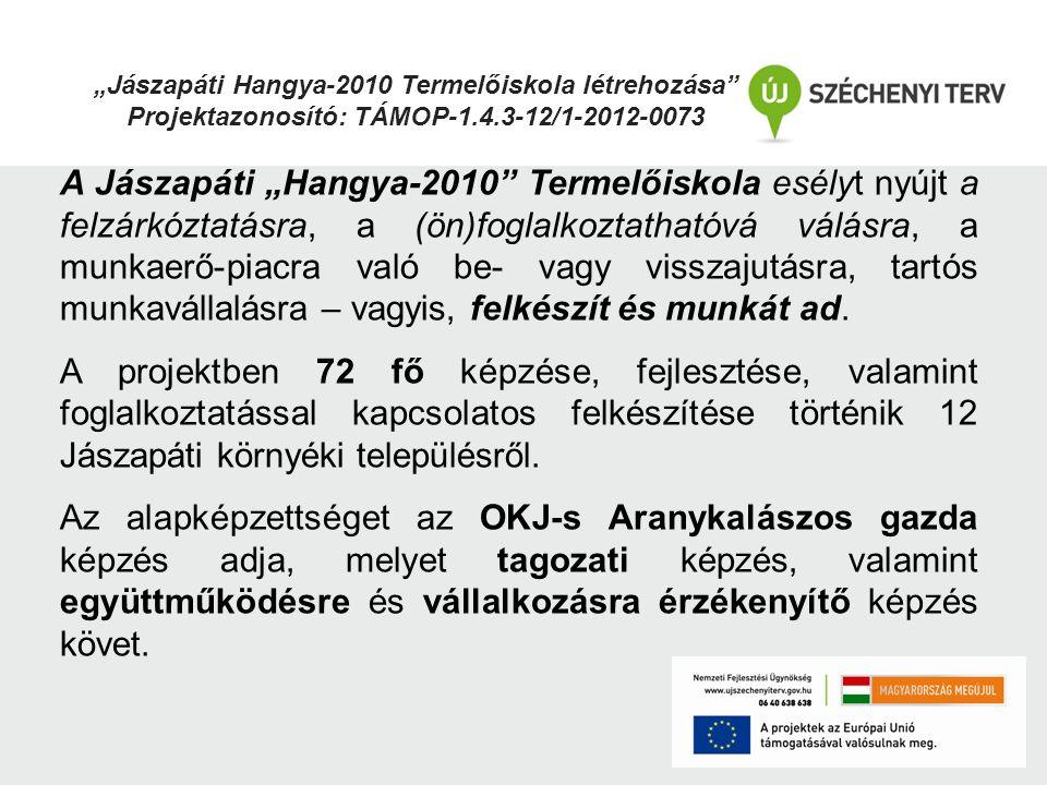 """""""Jászapáti Hangya-2010 Termelőiskola létrehozása"""