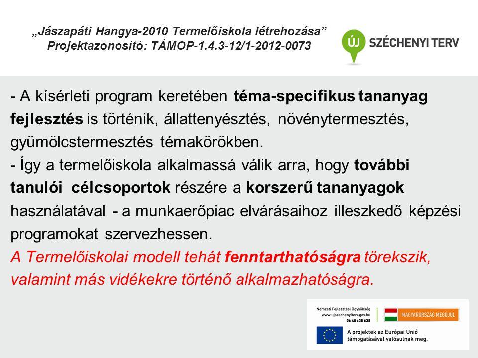 - A kísérleti program keretében téma-specifikus tananyag