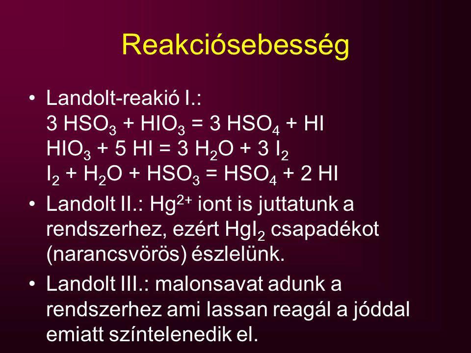 Reakciósebesség Landolt-reakió I.: 3 HSO3 + HIO3 = 3 HSO4 + HI HIO3 + 5 HI = 3 H2O + 3 I2 I2 + H2O + HSO3 = HSO4 + 2 HI.