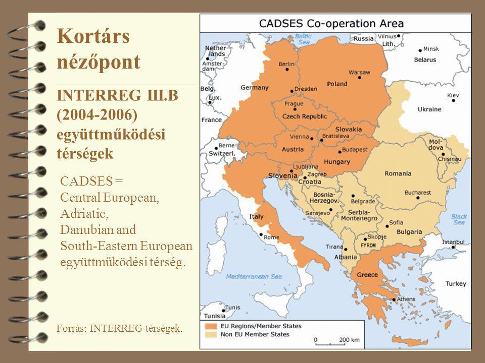 Kortárs nézőpont INTERREG III.B (2004-2006) együttműködési térségek