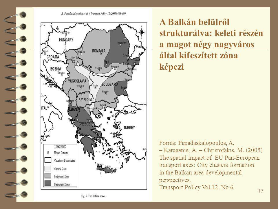 A Balkán belülről strukturálva: keleti részén a magot négy nagyváros által kifeszített zóna képezi