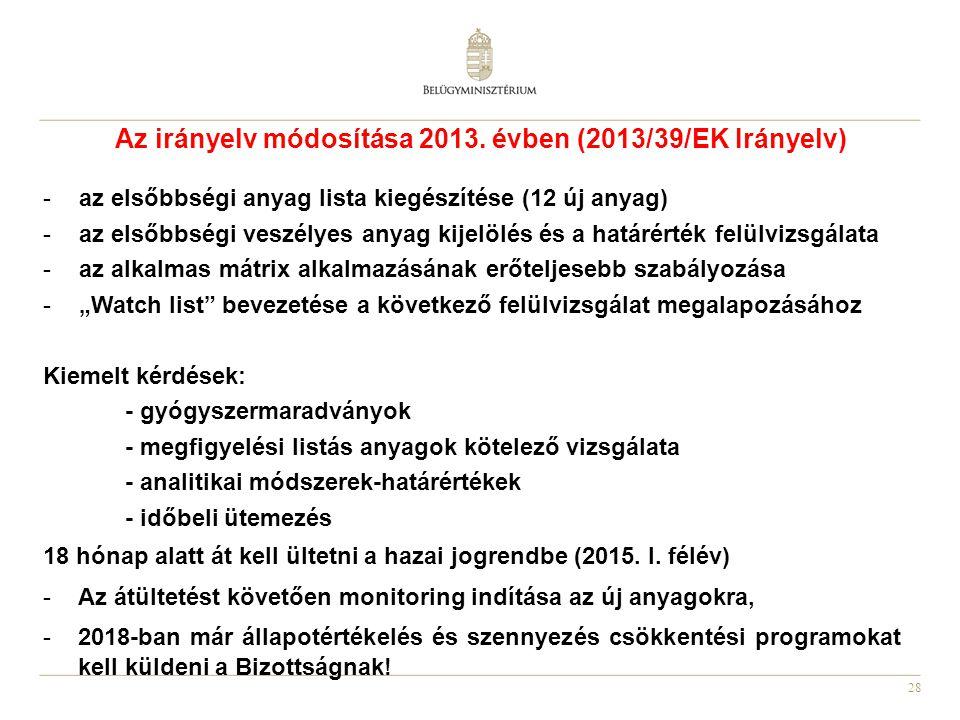 Az irányelv módosítása 2013. évben (2013/39/EK Irányelv)