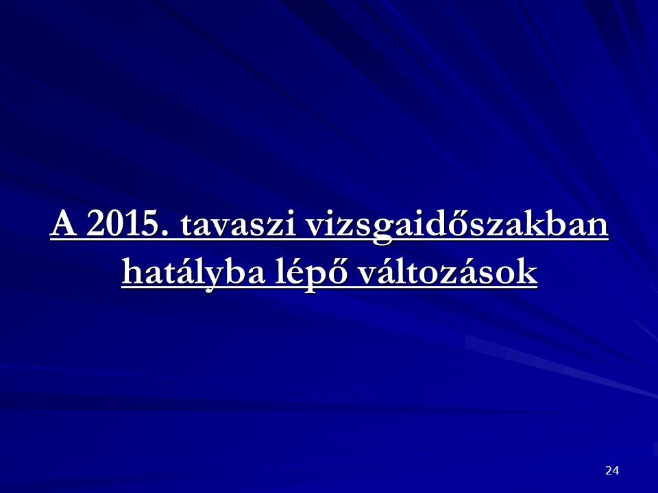 A 2015. tavaszi vizsgaidőszakban hatályba lépő változások