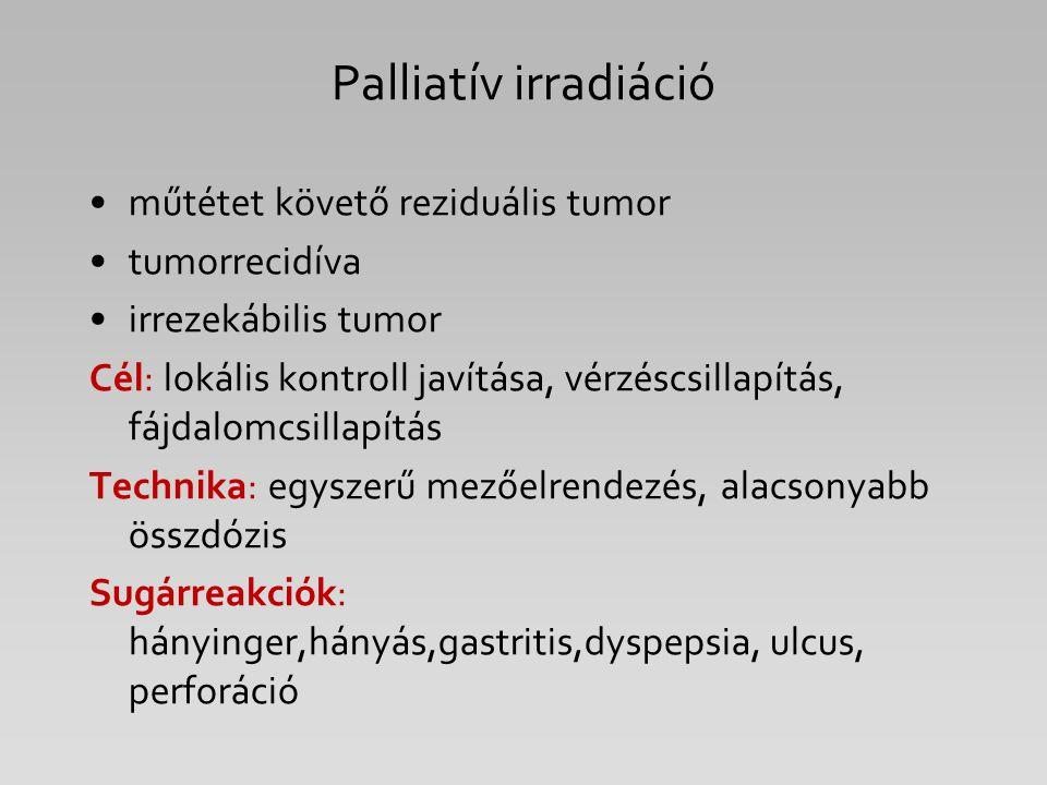 Palliatív irradiáció műtétet követő reziduális tumor tumorrecidíva