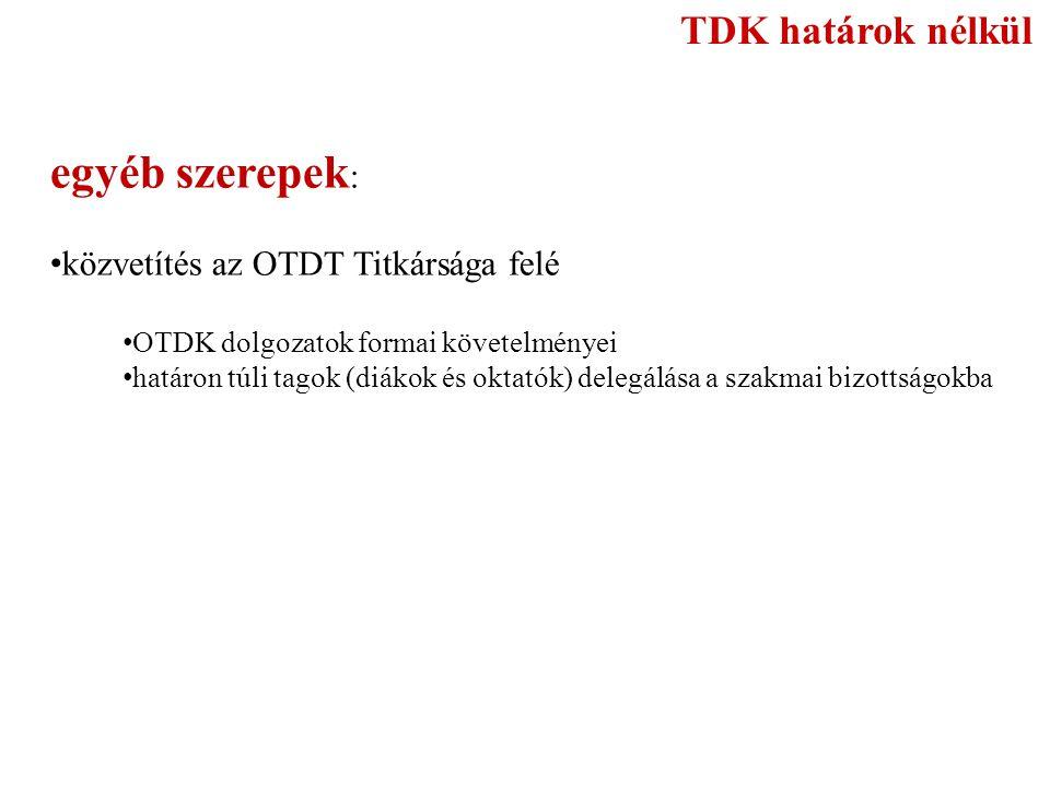 egyéb szerepek: TDK határok nélkül közvetítés az OTDT Titkársága felé