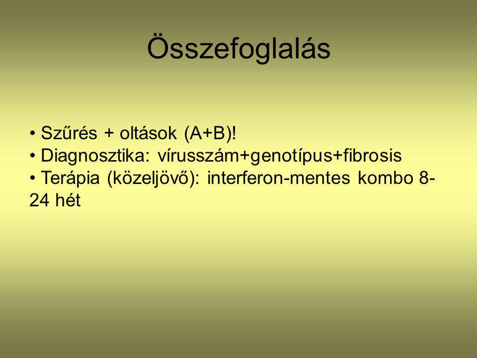Összefoglalás Szűrés + oltások (A+B)!