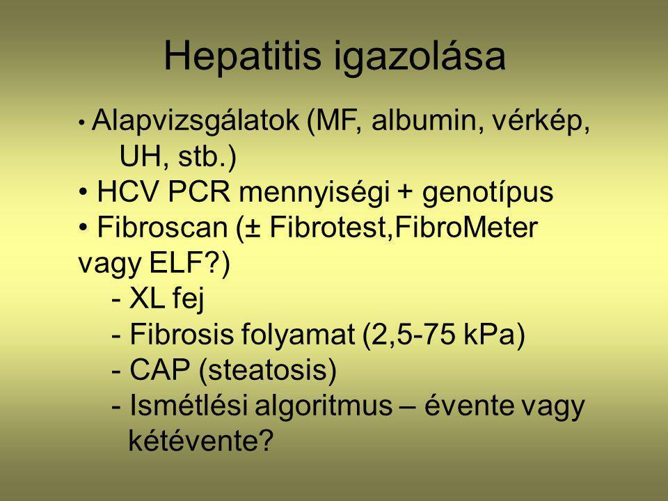 Hepatitis igazolása UH, stb.) HCV PCR mennyiségi + genotípus