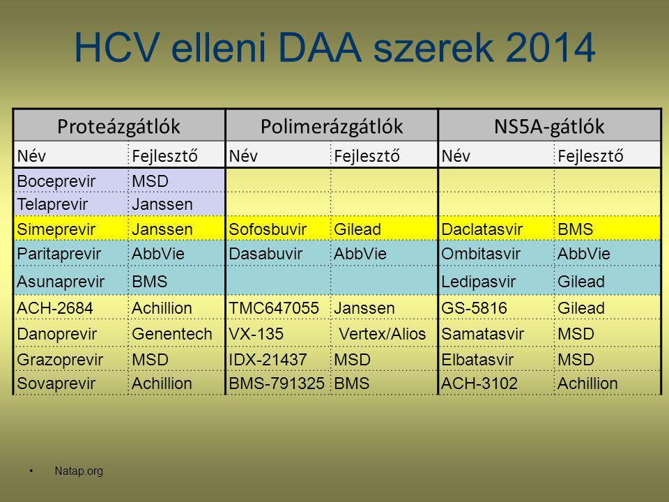 HCV elleni DAA szerek 2014 Proteázgátlók Polimerázgátlók NS5A-gátlók