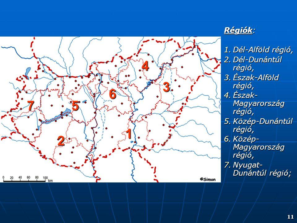 4 3 6 7 5 1 2 Régiók: Dél-Alföld régió, Dél-Dunántúl régió,