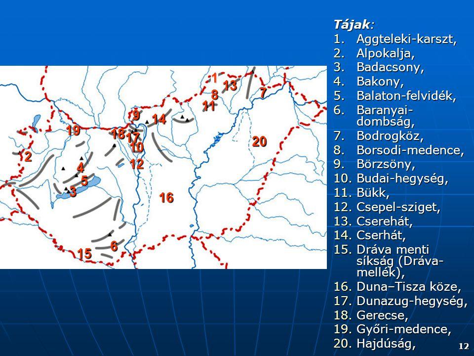 Tájak: Aggteleki-karszt, Alpokalja, Badacsony, Bakony, Balaton-felvidék, Baranyai-dombság, Bodrogköz,