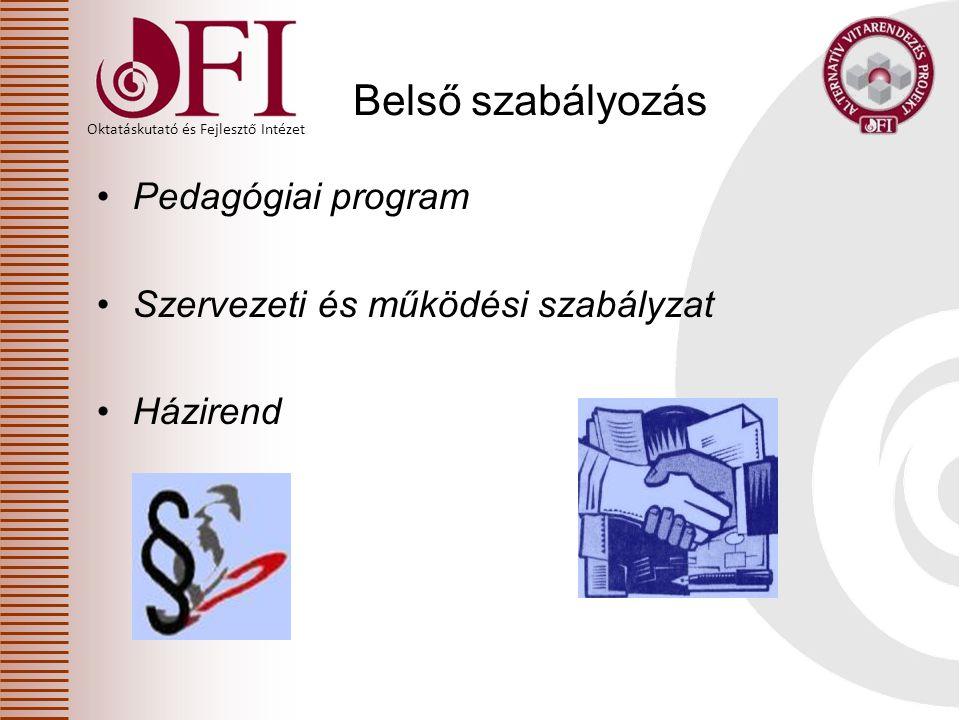 Belső szabályozás Pedagógiai program Szervezeti és működési szabályzat