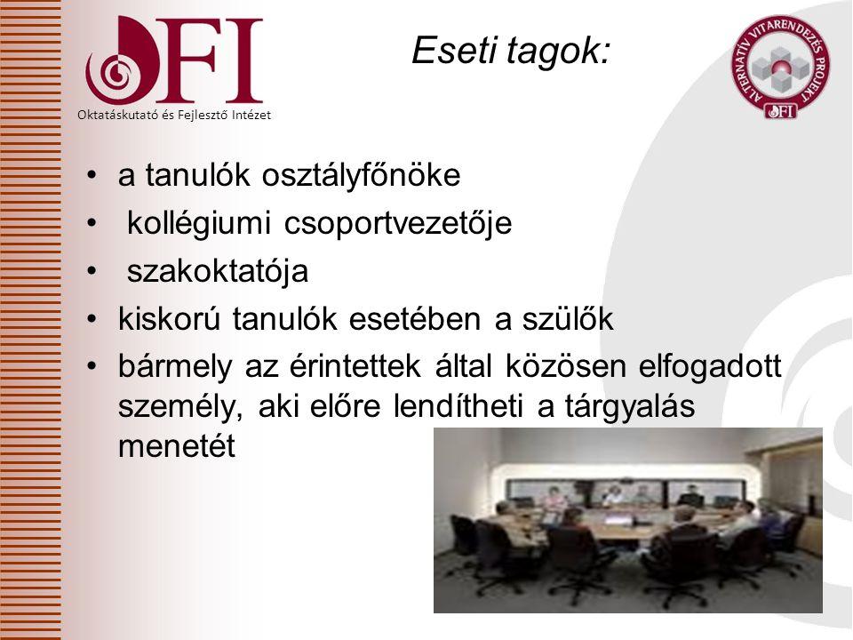 Eseti tagok: a tanulók osztályfőnöke kollégiumi csoportvezetője