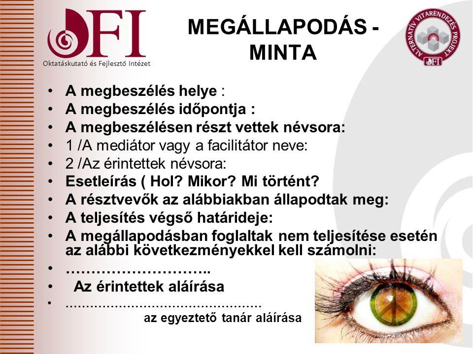 MEGÁLLAPODÁS - MINTA A megbeszélés helye : A megbeszélés időpontja :