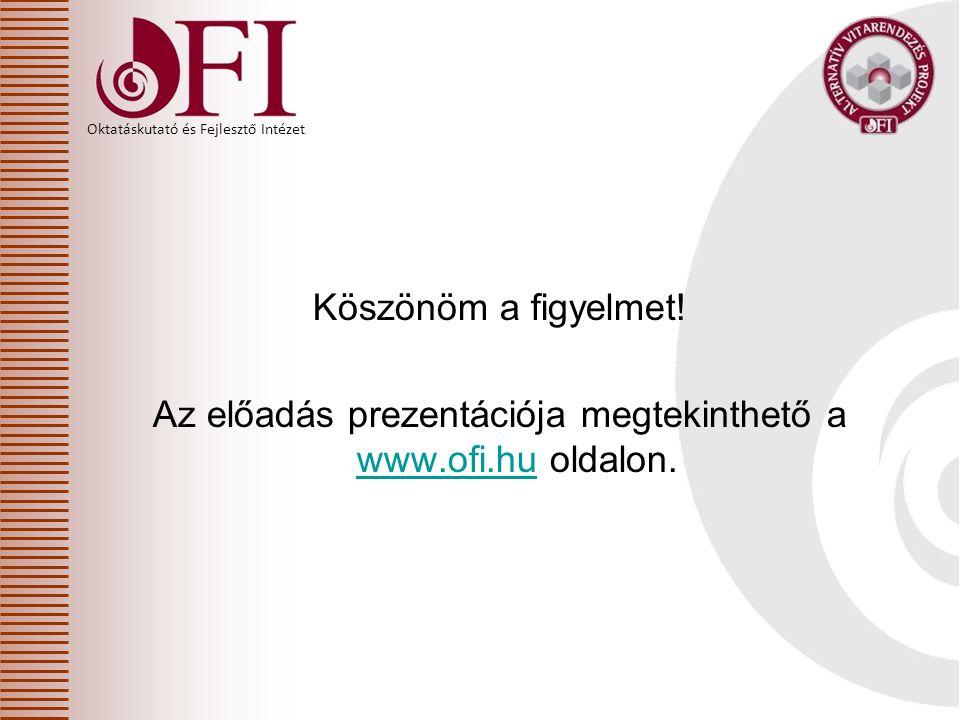 Köszönöm a figyelmet! Az előadás prezentációja megtekinthető a www.ofi.hu oldalon.