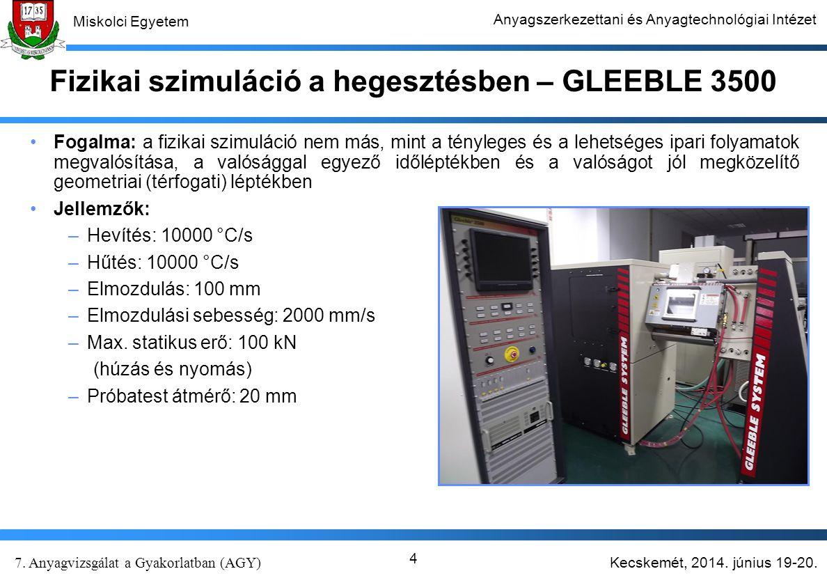Fizikai szimuláció a hegesztésben – GLEEBLE 3500