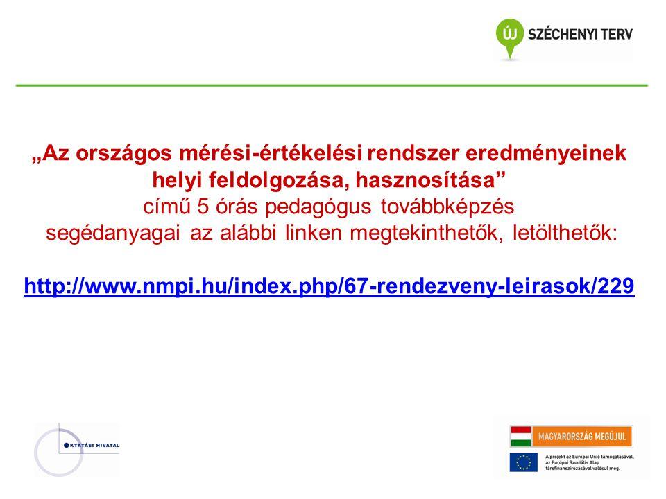 """""""Az országos mérési-értékelési rendszer eredményeinek helyi feldolgozása, hasznosítása című 5 órás pedagógus továbbképzés segédanyagai az alábbi linken megtekinthetők, letölthetők: http://www.nmpi.hu/index.php/67-rendezveny-leirasok/229"""