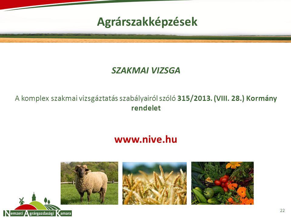 Agrárszakképzések www.nive.hu SZAKMAI VIZSGA