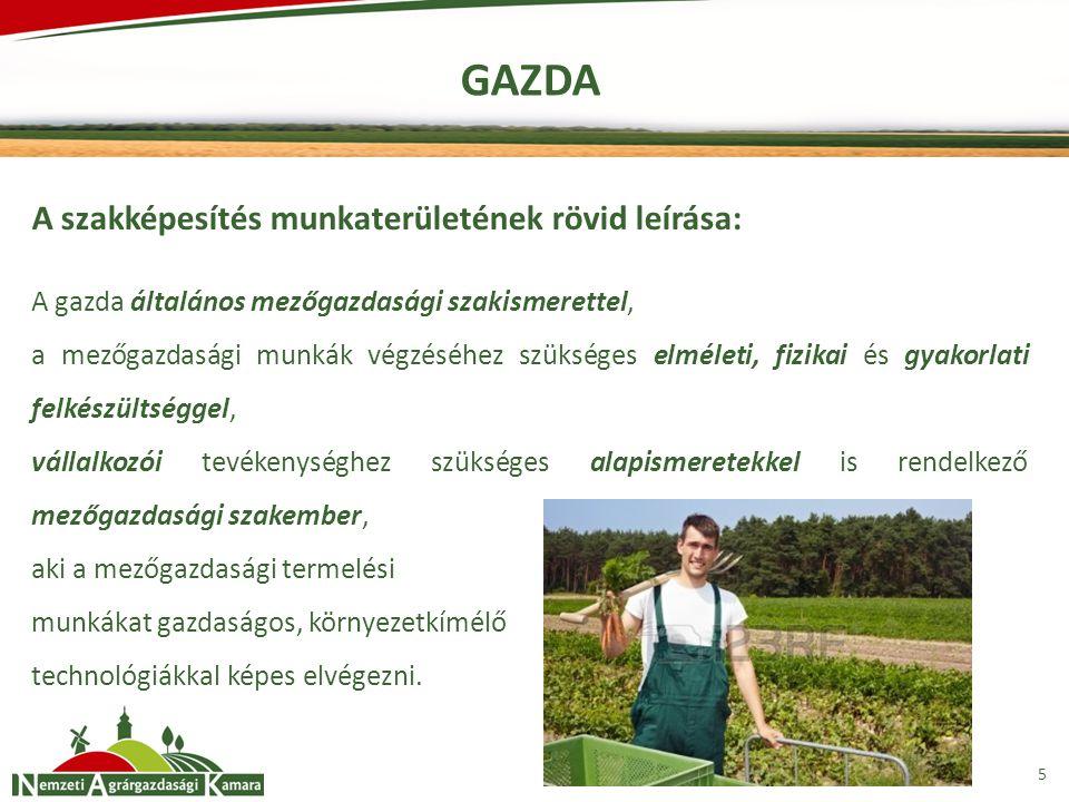 GAZDA A szakképesítés munkaterületének rövid leírása: