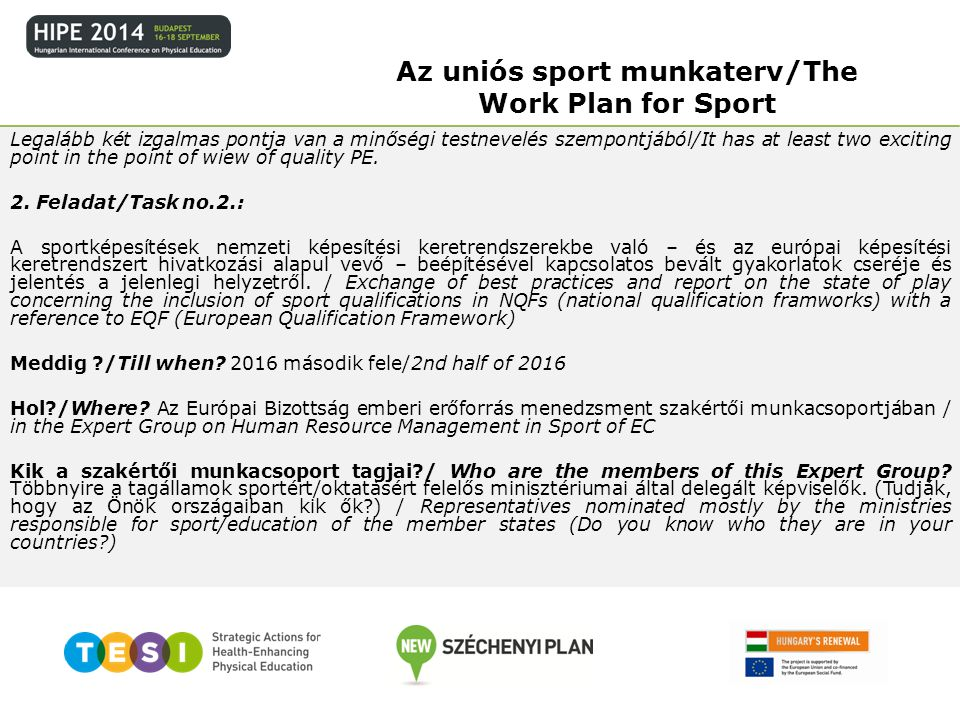 Az uniós sport munkaterv/The Work Plan for Sport