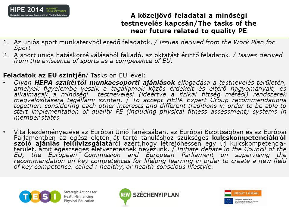 A közeljövő feladatai a minőségi testnevelés kapcsán/The tasks of the near future related to quality PE