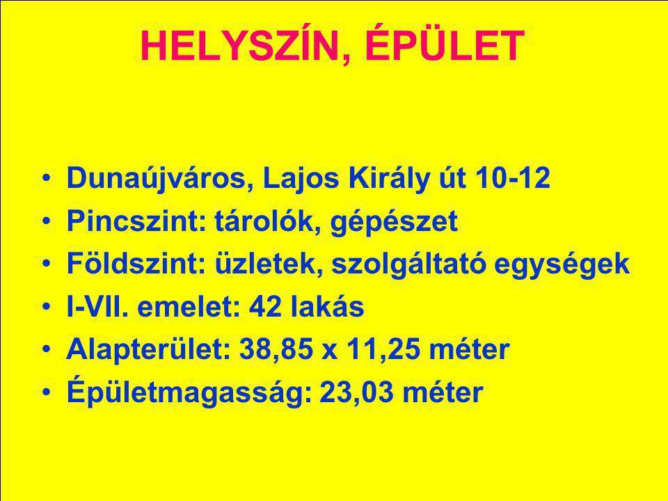 HELYSZÍN, ÉPÜLET Dunaújváros, Lajos Király út 10-12
